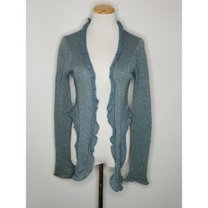 Juicy Couture Sweaters - Juicy Couture Metallic Blue Ruffled Edge Wrap